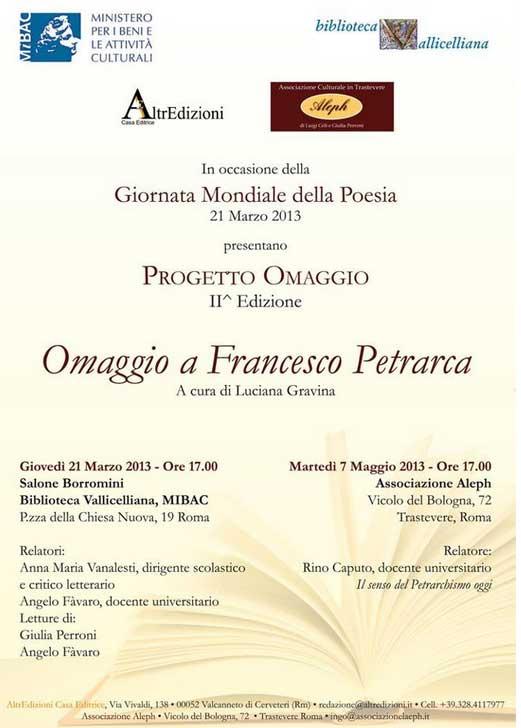 Giornata conclusiva II^ edizione PROGETTO OMAGGIO dedicato a Petrarca [locandina]