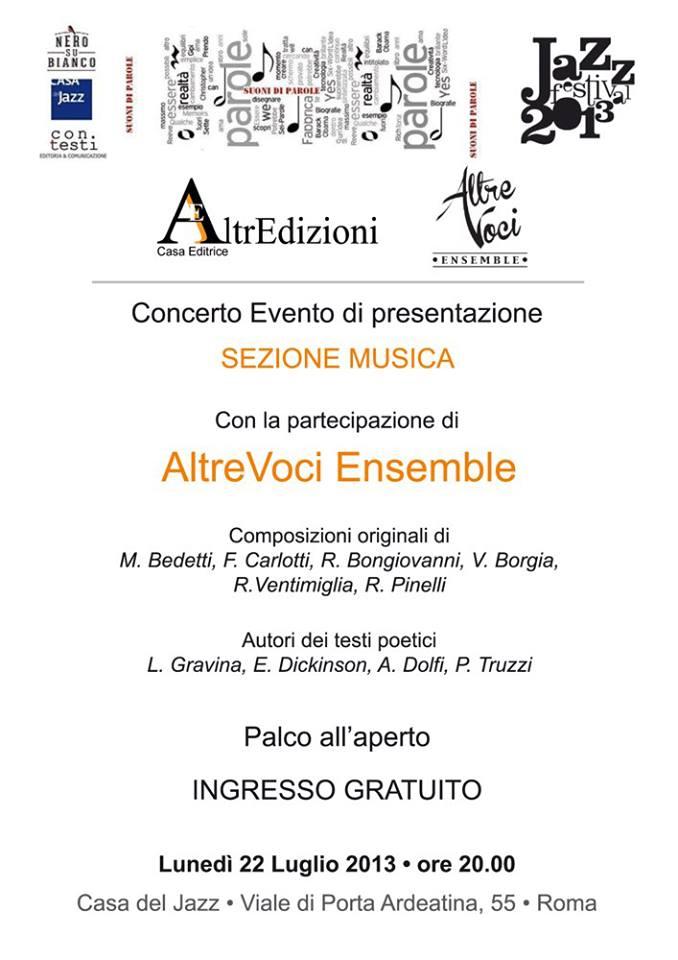 AltrEdizioni Casa Editrice in concerto con AltreVoci Ensemble alla Casa del Jazz a Roma [copertina]