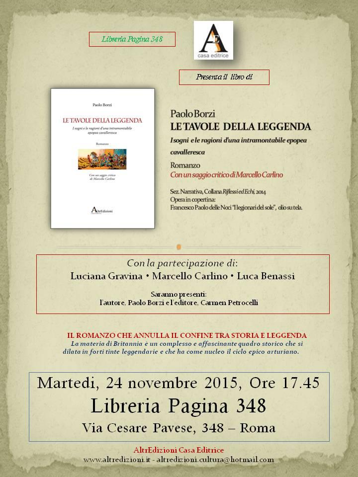 Evento presentazione libro Paolo Borzi – 24 nov 2015 ore 17.45 – Libreria Pagina 348 – Roma